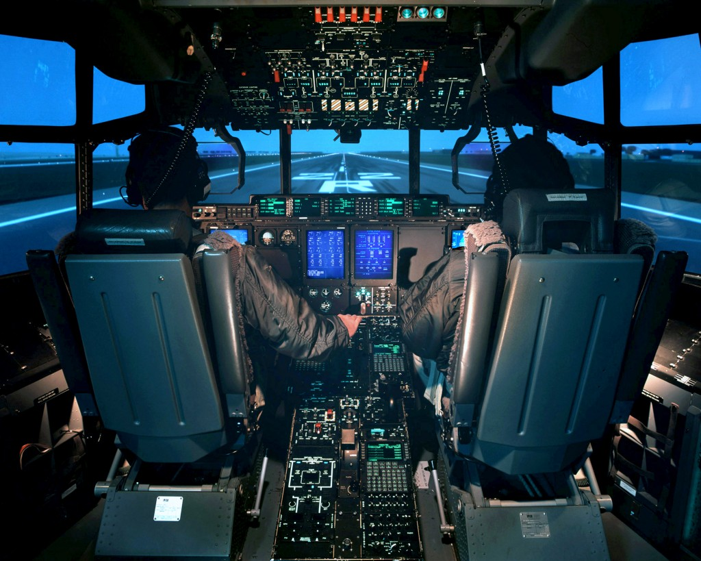 C130 J cockpit with pilots
