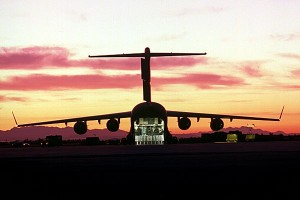 C-17 Cargo hold open with Sunset