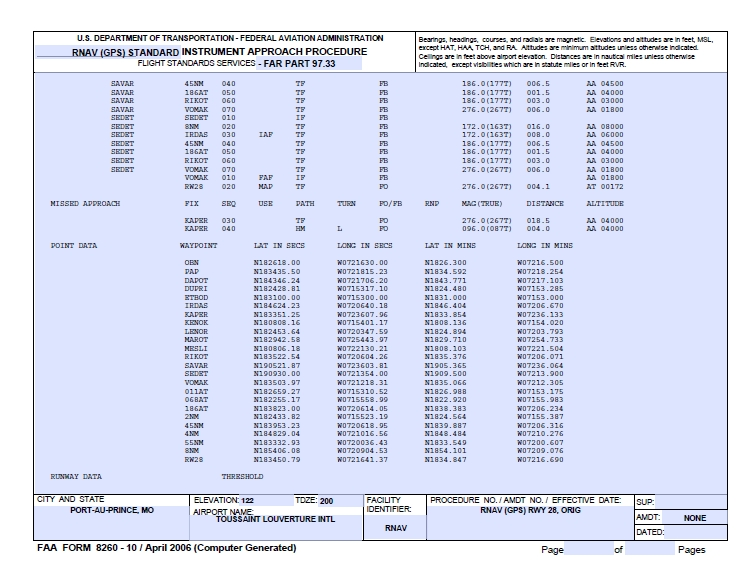 8260-10 Flight Check Summary