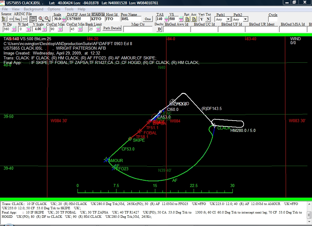 Example of our Visual Procedure Check tool for ILS RWY 05L at KFFO