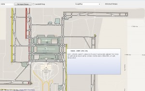 Visual NOTAM display of KDEN with Google Maps Overlay and pop-up NOTAM box.